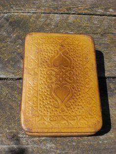 Vintage leather playing card case handmade brown leather with cards fabrics inside two parts set soviet USSR pocket size gift for him by vintagefullhouse on Etsy https://www.etsy.com/listing/180734632/vintage-leather-playing-card-case