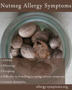 Nutmeg Allergy Symptoms and Diagnosis  Let me first burst this myth; nutmeg doesn't belong to tree nut family and has no proteins identical to them. So people with nut allergy can try this spice.  http://allergy-symptoms.org/nutmeg-allergy/