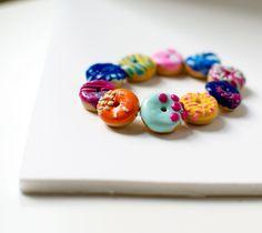 Donut Bracelet - Polymer Clay Food Jewelry. $25.00, via Etsy.