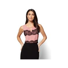 7th Avenue Lace-Accent Keyhole Shell (185 SEK) ❤ liked on Polyvore featuring tops, purple, purple lace top, red tank top, lace tank, shell tops and red slip