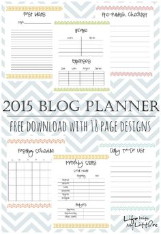 2015 Free Printable Blog Planner: 18 different page designs including stats, goals, income and expenses, and schedules!