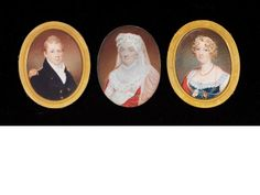 Charles Hayter (British, 1761-1835) A pair of portraits of Capt. James Bradshaw R.N. and his wife Eliza (née Blagrove): he, wearing Naval uniform; she, wearing dress with blue bodice, white sleeves and lace trim, red shawl, coral necklace, pearls in her hair and portrait miniature of her husband on a gold chain; sold together with a portrait of her mother Ann, wearing white dress, red shawl and white bonnet with veil, 1816