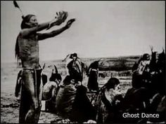 Ghost Dance: A sacrament of peace and hope carried on by the widows and the orphans of the planes. The dance was ended by the massacre at Wounded Knee on December 29, 1890.