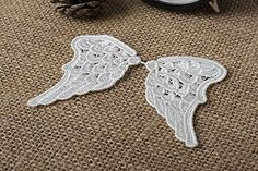 4 Pairs Sewing Craft Fabric Angel Wings Lace Appliques Vintage Off White Venice Lace Embroidery 3.14'x1.96' ** You can find out more details at the link of the image.