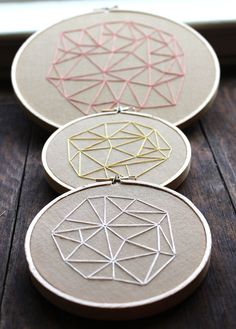 Geometrics Embroideries, via Etsy. www.lab333.com https://www.facebook.com/pages/LAB-STYLE/585086788169863 http://www.labs333style.com www.lablikes.tumblr.com www.pinterest.com/labstyle