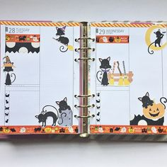 Halloween theme for the last remaining days of October #plannerlove #plannerlove #planneraddict #plannerjunkie #plannergoodies #filofax #filofaxgoodies #kawaii #kikkik #kikkikplannerlove #halloween #washi #blackcats #diyfish #mydecoratedbliss