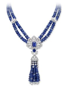 Spectacular design and craftsmanship bears an exceptional three-dimensional tassel necklace. Sparkly Jewelry, Tassel Jewelry, High Jewelry, Modern Jewelry, Unique Jewelry, Purple Jewelry, Jewelry Sets, Sapphire Necklace, Sapphire Jewelry