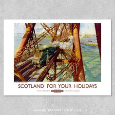 Railway Posters, Travel Posters, Vintage Posters, Scotland, Bridge, Poster Prints, Retro, Painting, Poster Vintage