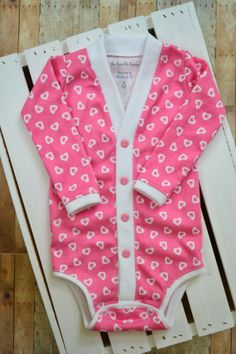 Valentine's Day Baby Cardigan Bodysuit: Pink by TheHumbleLemon Valentines Day Baby, First Daughter, Baby Cardigan, My Princess, New Baby Products, Onesies, Bodysuit, Shirt Dress, Pink