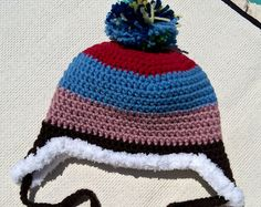 crochet winter hats,handmade winter hat,crochet ear flap hat,christmas gifts,toddler clothing,hats for kids,adult hats,womens accessories