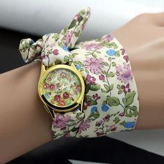 sloggi design Ladies flower cloth wristwatch fashion women dress watch high quality fabric watch sweet girls Bracelet watch