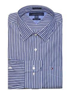 Tommy Hilfiger Men Custom Fit Thin Stripes Logo Shirt (S, Denim blue/white) Custom fit. 100% cotton.. Spread collar. Adjustable button cuffs.. Microflag on chest pocket.. Machine washable.. Imported..  #Tommy_Hilfiger #Apparel