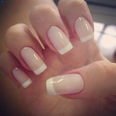 French Manicures Ideas 2015. Light pink base rather than clear. A great way to switch up a manicure.