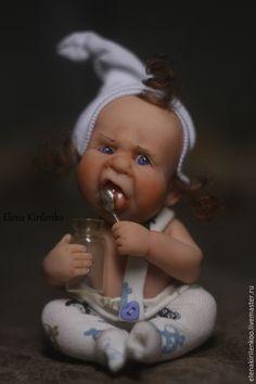 """Купить """"Обжорик"""" - белый, ложка, living doll, хлопок"""