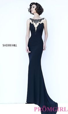 Sleeveless Form Fitting Open Back Gown by Sherri Hill at PromGirl.com
