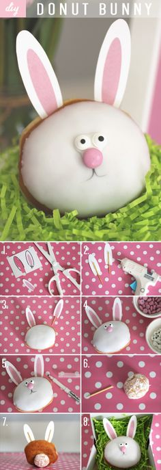 Hippity Hoppity Easter's on it's way!  Try making our adorable #DIY Donut Bunnies with our FREE PRINTABLES! #Easter