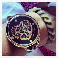 Heart Dial Leather Strap Watch
