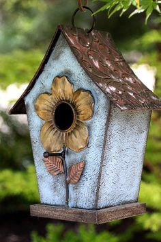 I have this birdhouse and it has lasted for years because it is made from metal instead of wood.