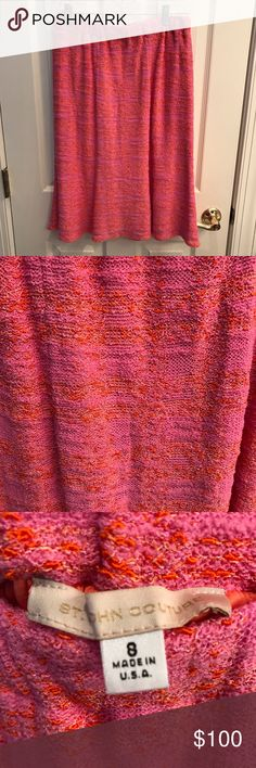 St. John Skirt Beautiful pink and orange St. John's skirt. This is in great condition. Check out the matching Blazer in my closet! If you want to bundle the two for a major discount just let me know and I will adjust prices. 😊 St. John Skirts Midi