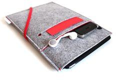iPad mini Sleeve / iPad mini Case / iPad mini Cover / iPad mini Organizer - Light Grey & Red with Front Pocket - Red Elastic Band - Love the colors and the organization. Unique design