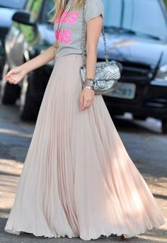 Flowy Nude Maxi Skirts, I love the idea of relaxing the look with a t-shirt.
