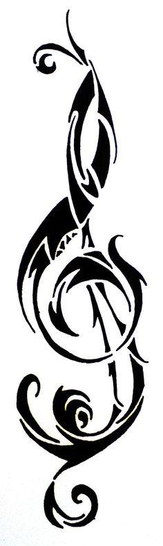 Treble Clef Tribal Tattoo Desgin by HamyDsArt.deviantart.com on @deviantART