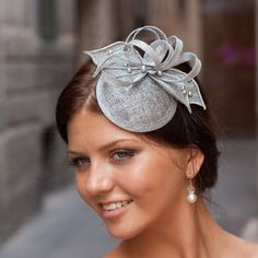 Silver cocktail hat with flower and Swarovski pearls, bridal hat, bridal headpiece, elegant hair accessory: Silver Fascinator, Bridal Fascinator, Bridal Hat, Fascinators, Headpieces, Fascinator Hairstyles, Hat Hairstyles, Elegant Hairstyles, Sombreros Fascinator