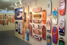 Must applaud the Californai Heritage Museum for hosting a fitting exhibition. Skateboard: Evolution and Art examines the skateboard from 1950 to the present day. The exhibition is co-curated by Z-boy Nathan Pratt, with staff curator Michael Trotter. Jeff Ho, Skip Engblom, Tony Alva, Stacey Peralta, and Christian Hoisoi also lent a hand. In all there are 270 boards on display.