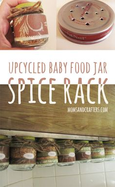 Are you looking for useful ways to upcycle baby food jars? Make this space saving spice rack out of some baby jars and a few other mateials Baby Jars, Baby Food Jars, Food Baby, Baby Bottles, Spice Organization, Recipe Organization, Organizing, Diy Spice Rack, Repurpose Spice Rack