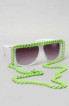 The Love/Hate Convertible Chain Shade Sunglasses in Neon Green by A-Morir by Kerin Rose | Karmaloop.com - Global Concrete Culture - StyleSays