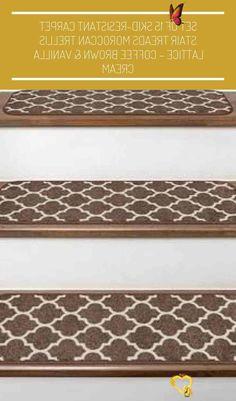 #cream carpet stairs Set of 15 Skid-Resistant Carpet Stair Treads Moroccan Trellis Lattice – Coffee Brown & Vanilla Cream<br> Carpet Stairs, Wall Design, Moroccan Trellis, Modern Garden, Carpet Stair Treads, Garden Wall Designs, Laser Lights, Trellis, Settings