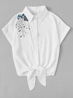 Shop Floral Embroidered Tie Front Top at ROMWE, discover more fashion styles online. Girls Fashion Clothes, Teen Fashion Outfits, Clothes For Women, Stylish Dresses, Stylish Outfits, Cool Outfits, Moda Fashion, Trendy Fashion, Crop Top Outfits