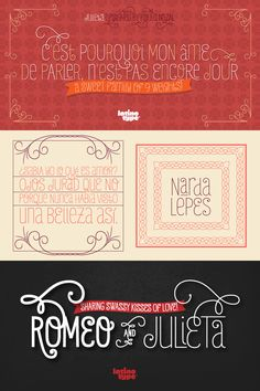 (Romeo and) Julieta designed by Paula Nazal Selaive. Great Fonts, New Fonts, Font Face, Love, Wonders Of The World, Typography, Graphic Design, Beauty, Amor