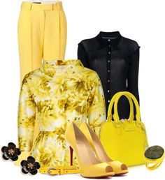 """Black+ yellow"" by dgia on Polyvore"