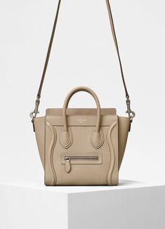 4c1591f768 Nano Luggage bag in drummed calfskin | CÉLINE Small Leather Goods, Celine,  Designer Bags