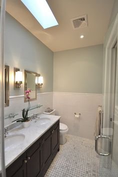 """Brooklyn Limestone Bathroom - The cap tile is called """"victorian cap"""" and all fixtures are Restoration Hardware."""