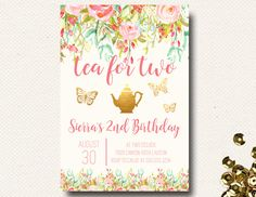 Tea for Two Birthday Invitation Tea Party Invitation Floral Pink Garden Party DIY Printable by DesignOnPaper on Etsy https://www.etsy.com/listing/293889455/tea-for-two-birthday-invitation-tea