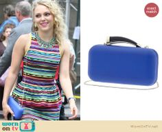 Carrie's blue clutch on The Carrie Diaries. Outfit Details: http://wornontv.net/18977 #TheCarrieDiaries