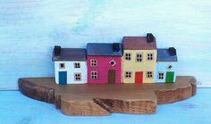 Painted miniature Houses on a Pier by TomTaaffeCrafts on Etsy
