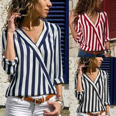 Women's V-neck Long Sleeve Tops Blouse Ladies OL Striped Shirts Chiffon Autumn Top Casual, Casual Tops For Women, Blouses For Women, T Shirts For Women, Striped Long Sleeve Shirt, Long Sleeve Tops, Long Sleeve Shirts, Striped Shirts, Crop Top Shirts