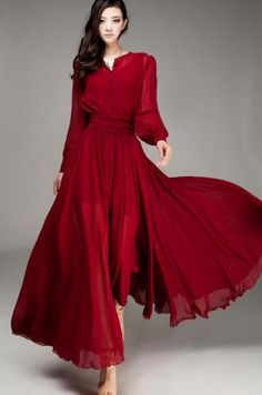 Maxi length long sleeves big flare dress - cranberry red