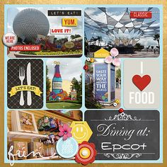 Disney's Epcot Food Wine Festival l Project Life Restaurant by Bee Tree Studios using Project Mouse: Food by Sahlin Studio Britt-ish Designs Pocket Page Scrapbooking, Disney Scrapbook Pages, Scrapbook Page Layouts, Scrapbooking Ideas, Scrapbook Paper, Project Life Travel, Project Life Scrapbook, Disney Food, Disney Ideas