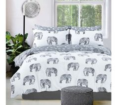 Grey Elephant Print Duvet Set and Pillowcase Bedding Set Duvet Sets Elephant Duvet Cover, Elephant Bedding, Elephant Room, Grey Elephant, Elephant Stuff, Elephant Design, Elephant Home Decor, Colorful Elephant, Elephant Gifts