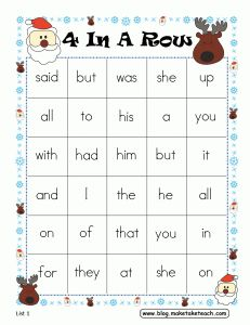 FREE 4-In-A-Row game board for practicing sight words.  Perfect for your literacy centers during the holiday season.