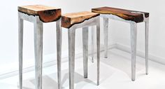 Wood castings by Hilla Shamia  Furniture combining cast aluminium and wood. The negative factor of burnt wood is transformed into aesthetic and emotional value by preservation of the natural form of the tree trunk, within explicit boundaries. The general, squared form intensifies the artificial feeling, and at the same time keeps the memory of the material.
