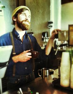 oh my gosh......can my husband rock a killer beard and make me delicious coffees like this guy please?!?