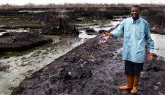 23. April 2012 - Zehntausende Tonnen Öl strömten 2008 aus den Lecks einer maroden Pipeline des Öl-Unternehmens Shell im Niger-Delta. Der Boden und das Wasser rund um die 69.000 Bewohner zählende Stadt Bodo wurden verseucht. Eine neue Studie zeigt nun das tatsächliche Ausmaß der Ölkatastrophe und offenbart, dass Shell die Menge an ausgetretenem Öl massiv unterschätzt hat. © Amnesty International