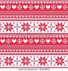 Nordic seamless knitted Christmas red heart pattern  by RedKoala #winter #print #xmas #scandinavian