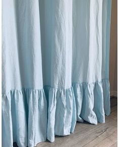 This shower curtain features mermaid long ruffles handcrafted in robin egg dove linen. Made of pure linen and accentuates well in your bathroom. The shower curtain maybe used with a liner or without. Extra Long Curtains, Extra Long Shower Curtain, Long Shower Curtains, Striped Shower Curtains, Custom Shower Curtains, Linen Curtains, Linen Fabric, Linen Bedding, Chic Bedding