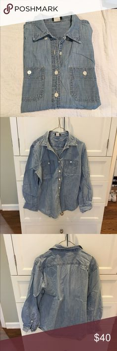 J. Crew Chambray Button Down Classic light wash Chambray shirt. Previously worn but in excellent condition! Great staple to have in any closet! Open to reasonable offers through feature! J. Crew Tops Button Down Shirts